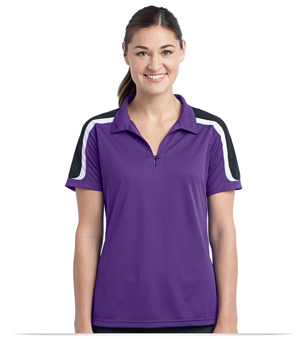 Custom Logo Sport Tek Ladies Tricolor Shoulder Sport Wick Polo