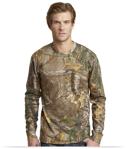 Design Russell Outdoors Long Sleeve Cotton T-Shirt with Pocket