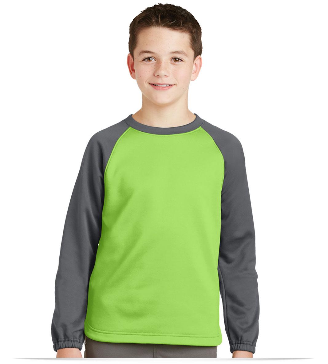 Customize Sport-Tek Youth Raglan Colorblock Fleece