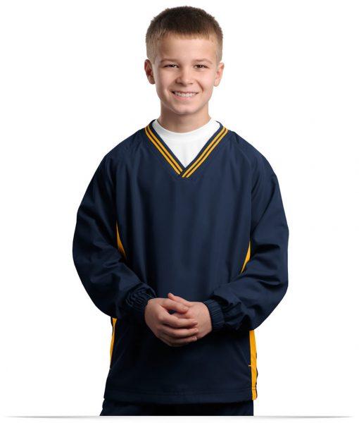 Embroidered Sport-Tek Youth Tipped V-Neck Raglan Wind Shirt