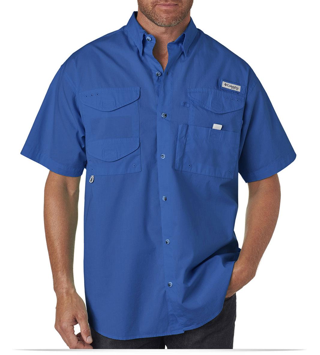 Custom embroidered columbia men 39 s bonehead short sleeve for Custom embroidered t shirts no minimum