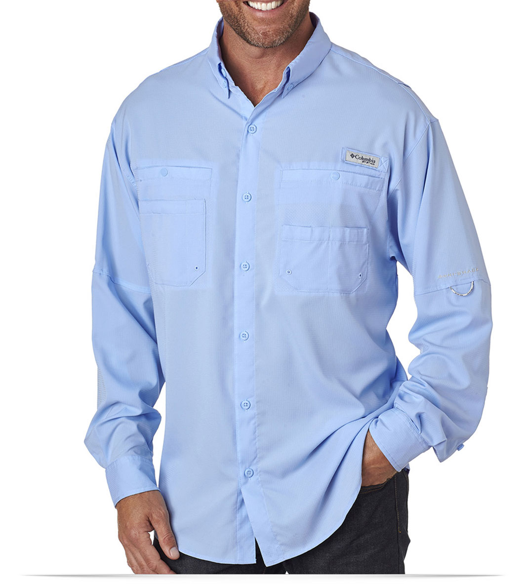 Design embroidered columbia men 39 s long sleeve shirt online for Embroidered work shirts no minimum order