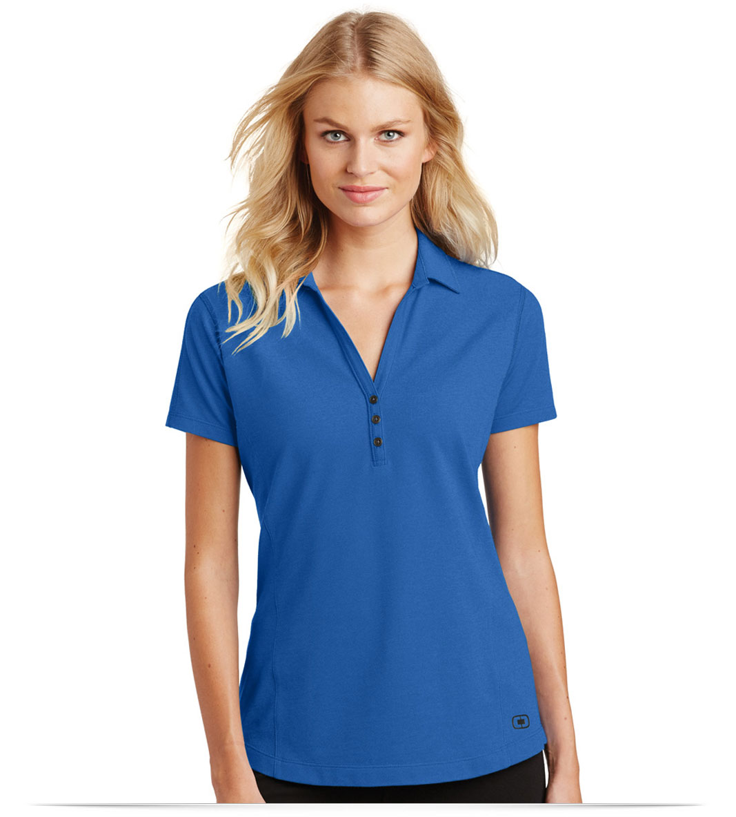 Design embroidered ogio ladies onyx polo online at allstar for Name brand golf shirts