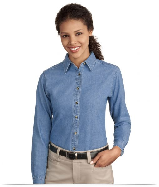 Embroidered Port Ladies Long Sleeve Value Denim Shirt