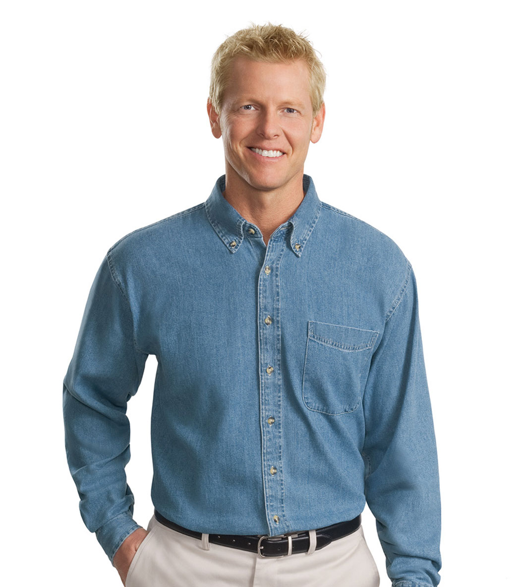 custom Port Authority Tall Long Sleeve Denim Shirt