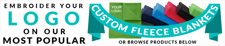 custom embroidered logo fleece blankets