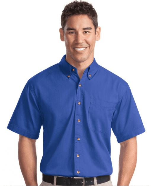 Custom Logo on Port Authority Short Sleeve Twill Shirt